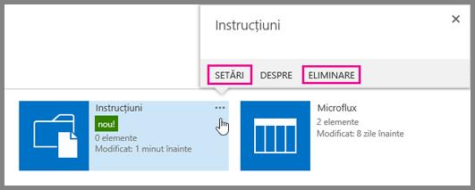 Pentru a redenumi sau a elimina o bibliotecă de documente, faceți clic pe punctele de suspensie.