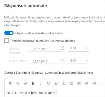 Crearea de răspunsuri automate în Outlook pe web