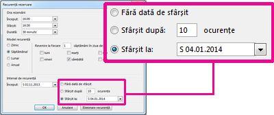 Modificarea opțiunii datei de sfârșit a unei întâlniri repetitive
