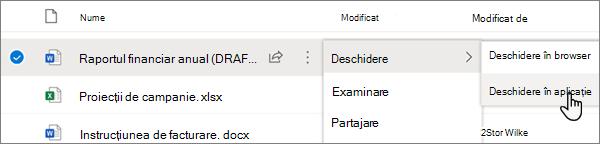 Opțiunea deschidere > deschidere în meniul aplicație selectată pentru un fișier Word în portalul OneDrive online