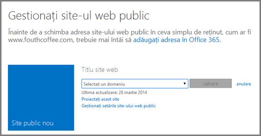 Caseta de dialog Gestionați site-ul web public, afișând Selectați un domeniu.