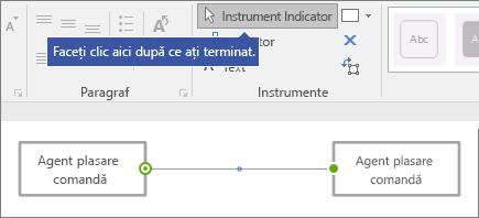 """""""Faceți clic aici după ce ați terminat"""" indicând spre instrument indicator comanda"""