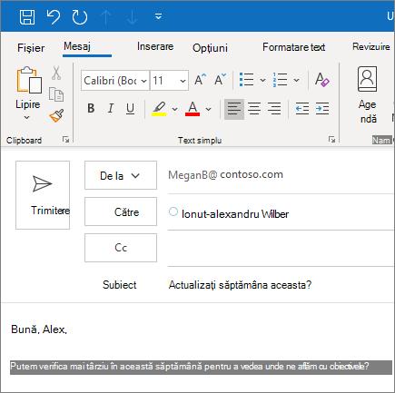 Crearea și trimiterea unui e-mail