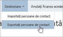 O captură de ecran a opțiunii Export contacte în meniul Gestionare