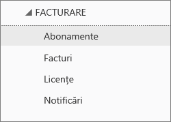 Captură de ecran cu meniul Facturare din Centrul de administrare Office 365, cu opțiunea Abonamente selectată.