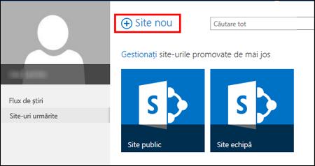 Pagina Site-uri din SharePoint Online, afișând butonul Site nou