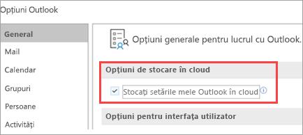 Afișarea opțiunilor de setare din Outlook