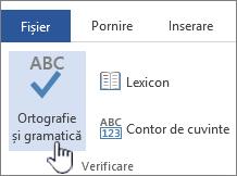 Butonul Corectare ortografică și gramaticală pe panglica Revizuire