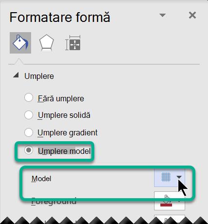 Opțiuni de umplere a modelelor pentru formele din Visio.