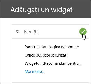 Captură de ecran a accesare adăugarea Widget în securitatea și conformitatea centrare