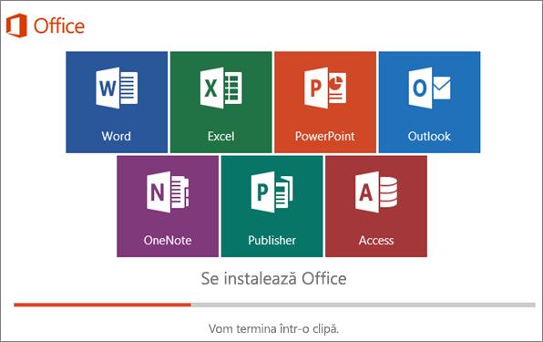 Fereastră care afișează progresul instalării Office
