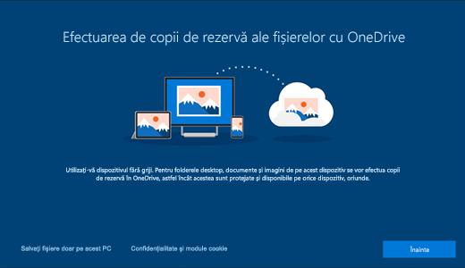 Captură de ecran a paginii OneDrive care apare atunci când utilizați prima dată Windows 10