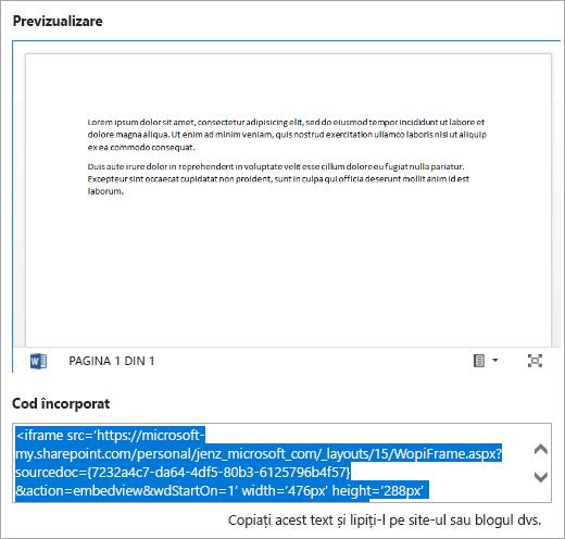 Copierea codului de încorporare a unui document Office