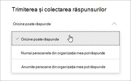 Opțiuni de partajare pentru Microsoft Forms