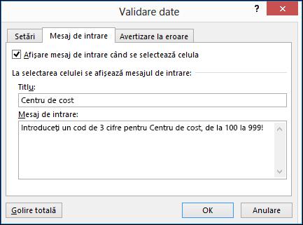 Setările de mesaj de intrare în caseta de dialog validare date