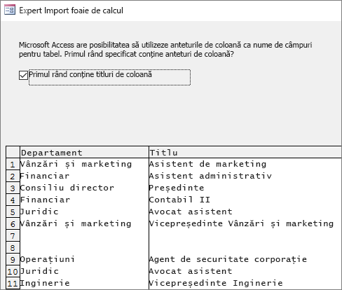 Importul datelor din Excel