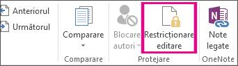 Comanda Restricționare editare de pe fila Revizuire