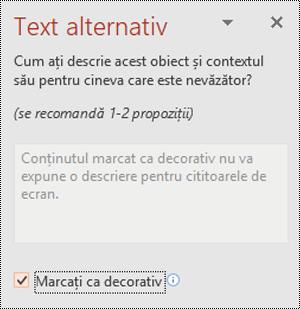 Caseta de selectare marcare ca decorativă selectată în PowerPoint pentru Windows