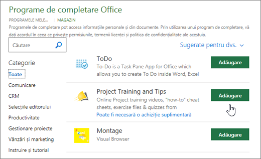 Captură de ecran a paginii de completare Office în depozit în cazul în care puteți selecta sau căutați un program de completare pentru proiect.