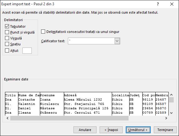 Opțiunile pentru Delimitatori sunt evidențiate în Expertul import text.