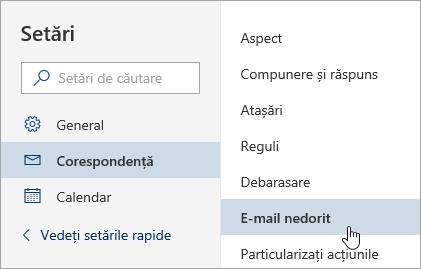 Captură de ecran a meniului Setări cu opțiunea E-mail nedorit selectată