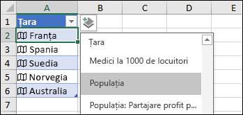 Adăugați o coloană pentru a adăuga o înregistrare Populație