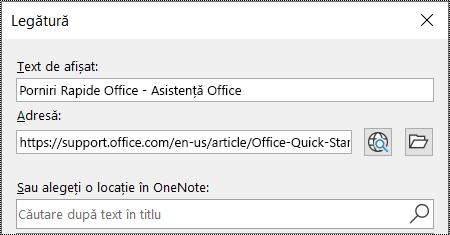 Captură de ecran a casetei de dialog pentru link în OneNote. Conține două câmpuri de completat: Text de afișat și Adresă.