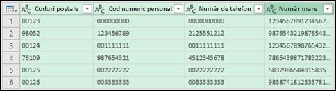 Obțineți și transformarea > conversie date în text