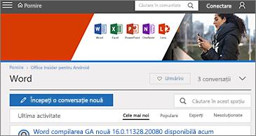 Office Insider pentru pagina de pornire Comunitatea tehnică Android