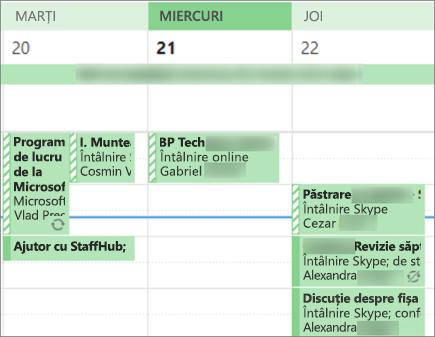 Cum arată calendarul pentru un utilizator atunci când îl partajați cu detalii limitate.