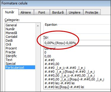 Format de număr particularizat