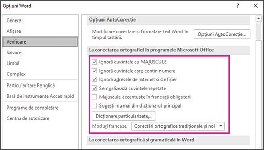 General opțiunilor de corectare verificare pentru Office
