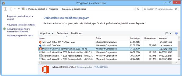 Găsirea aplicației de sincronizare OneDrive pentru business în Panoul de Control din Windows