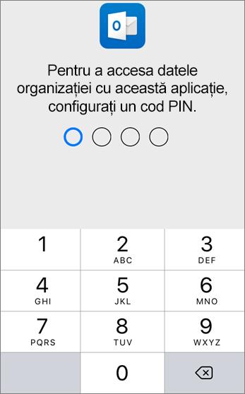 Setați un PIN pentru a accesa datele organizației dvs.