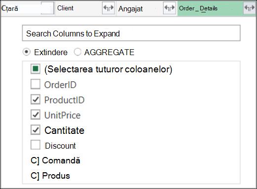 Extinderea linkului de tabel Order_Details