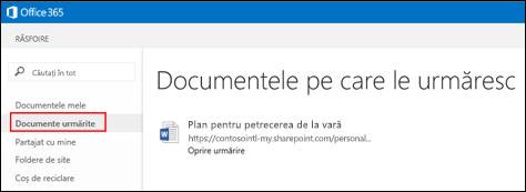 Captură de ecran a documentelor OneDrive pentru business pe care le urmăriți în Office 365.