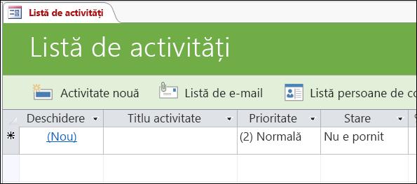 Listă de activități din șablonul de bază de date Activități Access