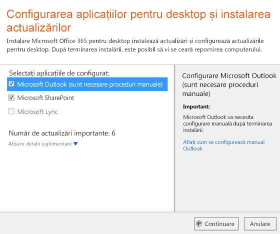 Configurarea aplicațiilor desktop și instalați actualizările