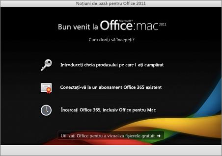 Captură de ecran cu pagina de bun venit pentru Office for Mac 2011