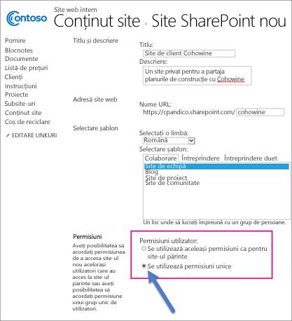 Pe pagina Site-uri SharePoint noi, alegeți opțiunea Permisiuni unice.