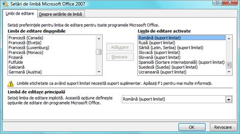 Setările lingvistice din Office 2007