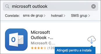 Atingeți pictograma cloud pentru a instala Outlook