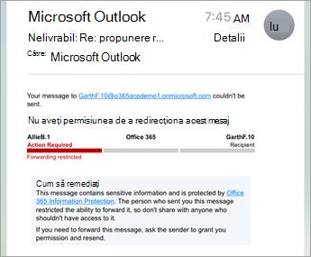 Exemplu de e-mail protejat pe iPhone sau iPad