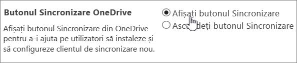 Setările de administrator pentru butonul de sincronizare OneDrive