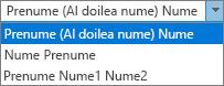Opțiuni Outlook pentru persoane, afișând numele complet ordine listă de opțiuni.