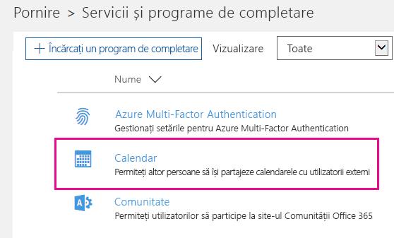 Pe pagina Servicii și programe de completare, faceți clic pe Calendar.