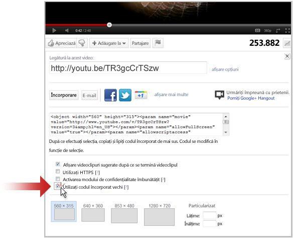 Legarea la un videoclip din YouTube