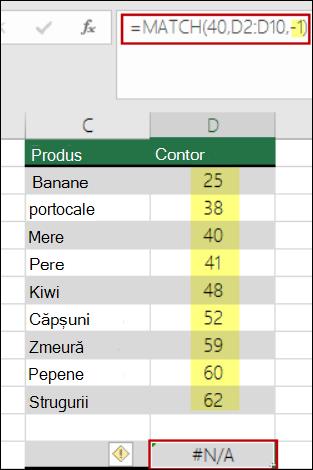 funcția match pentru Excel