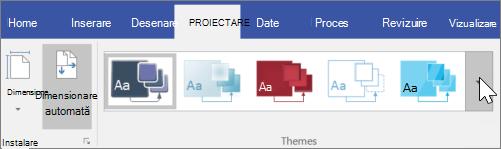 Captură de ecran a opțiunilor din bara de instrumente proiectare > teme