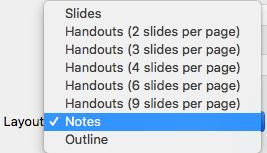 Selectați aspectul Note în caseta de dialog Imprimare